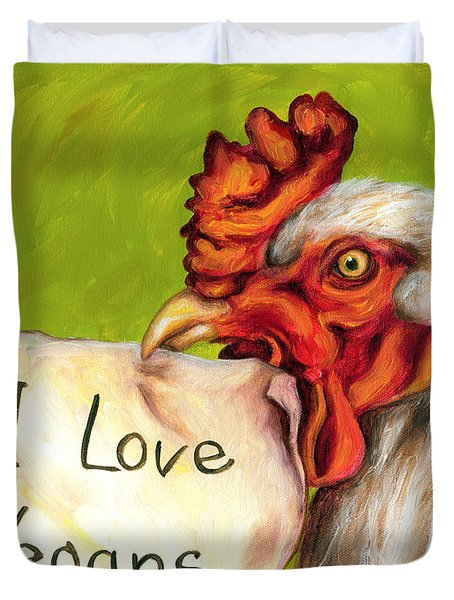 I Love Vegans Duvet Cover