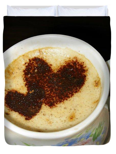 I Love You. Hearts In Coffee Series Duvet Cover by Ausra Huntington nee Paulauskaite