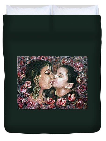 Duvet Cover featuring the painting I Love You Mom by Harsh Malik
