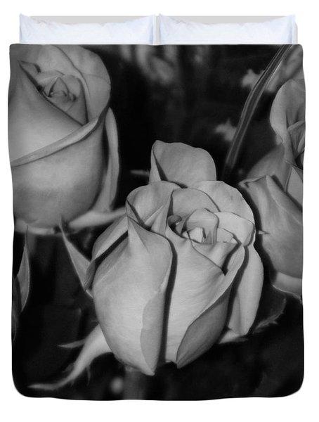 Black And White Roses Duvet Cover