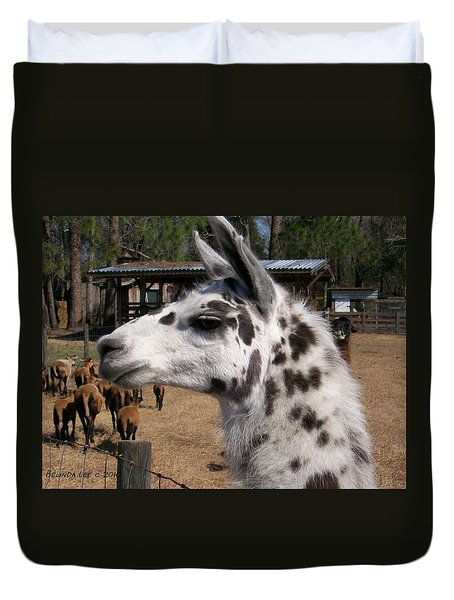 Duvet Cover featuring the photograph Mad Llama Rules by Belinda Lee