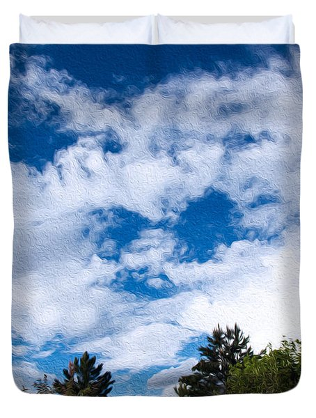 I See A White Cloud Looking At Me Duvet Cover by Omaste Witkowski