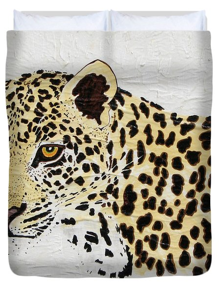 Duvet Cover featuring the painting I See You by Stephanie Grant