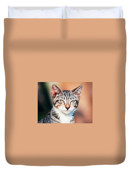 Duvet Cover featuring the photograph Catitude by Belinda Lee