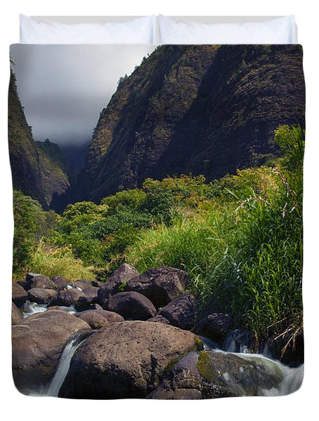 Iao  Storm Duvet Cover by Mike  Dawson