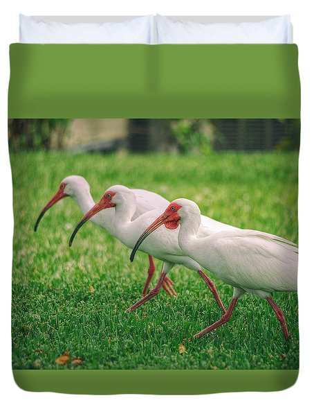 Duvet Cover featuring the photograph Ibis Lawn Service by Dennis Baswell
