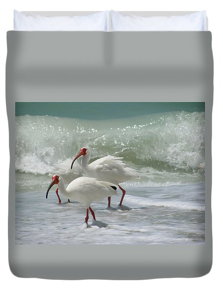 Duvet Cover featuring the pastel Ibis Pair by Melinda Saminski