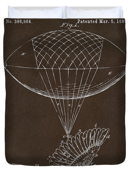 Duvet Cover featuring the drawing Icarus Airborn Patent Artwork Espresso by Nikki Marie Smith