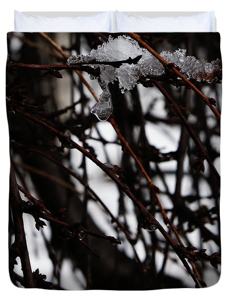 Duvet Cover featuring the photograph Ice 2 by Linda Shafer