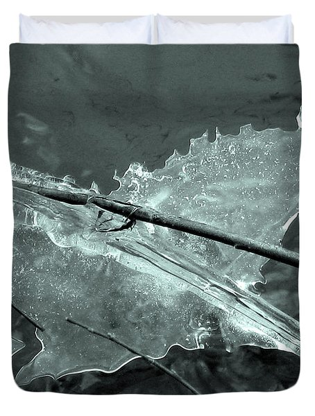 Duvet Cover featuring the photograph Ice-bird On The River by Nina Silver