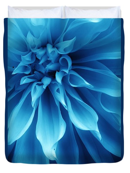 Ice Blue Dahlia Duvet Cover