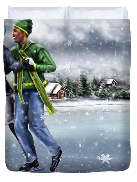 Ice Dancing On The Lake Duvet Cover by Reggie Duffie