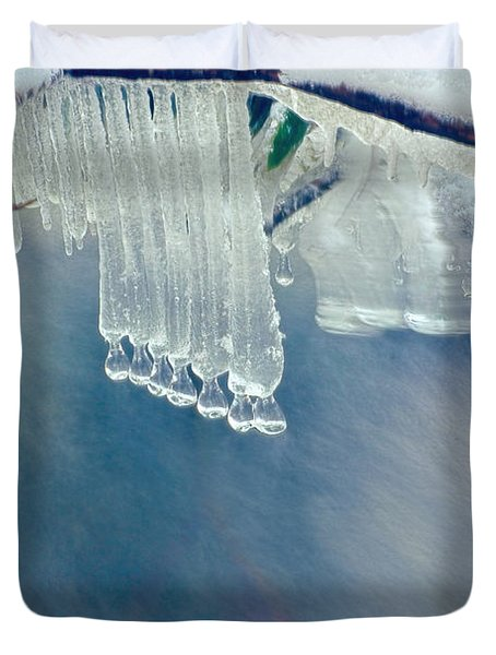 Ice Drops Over Stream Duvet Cover by Dan Friend