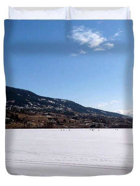 Ice Fishing On Wood Lake Duvet Cover