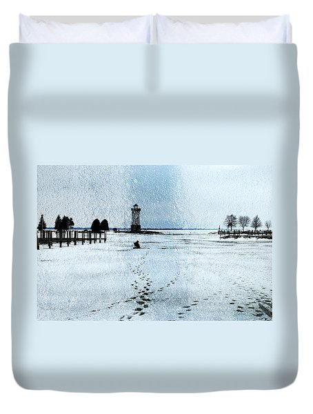 Ice Fishing Solitude 1 Duvet Cover