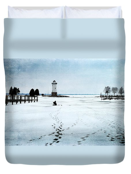 Ice Fishing Solitude 2 Duvet Cover