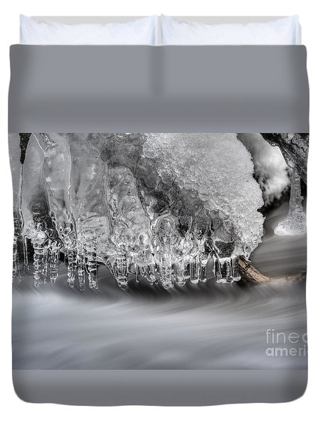 Ice Formation Above Stream Duvet Cover by Dan Friend