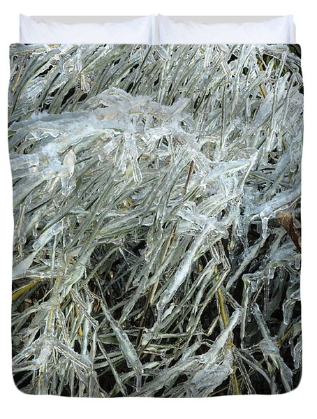 Ice On Bamboo Leaves Duvet Cover