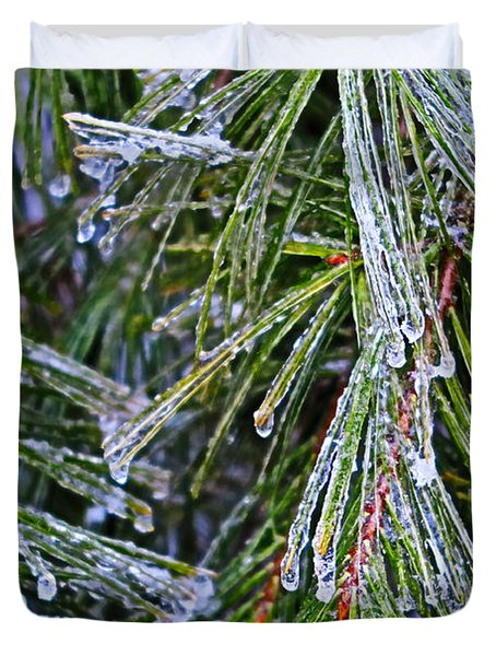Ice On Pine Needles  Duvet Cover