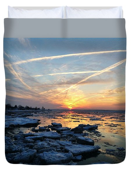 Ice On The Delaware River Duvet Cover