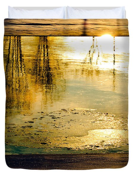 Ice On The River Duvet Cover by Bob Orsillo