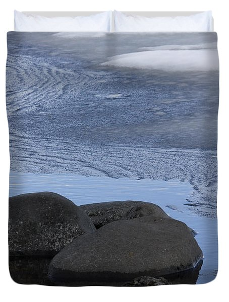 Ice Out At Pumice Point Duvet Cover