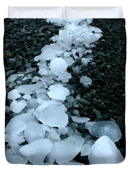 Duvet Cover featuring the photograph Ice Pebbles by Amanda Stadther