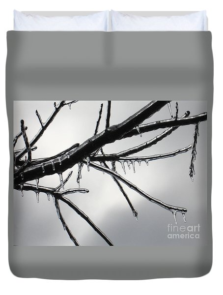 Duvet Cover featuring the photograph Iced Tree by Ann Horn