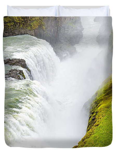 Iceland Gullfoss Waterfall Duvet Cover