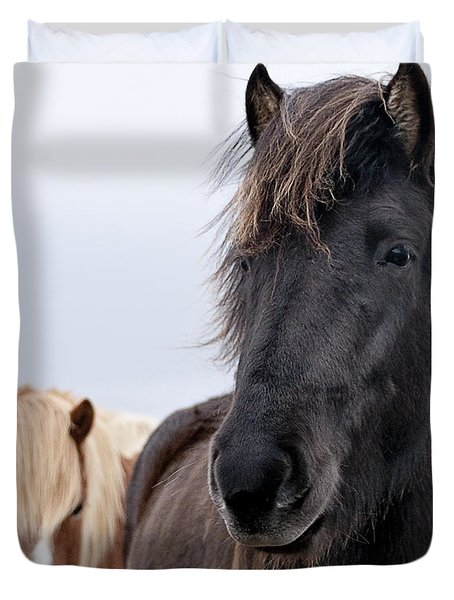 Iceland Horses Duvet Cover by Mike Santis