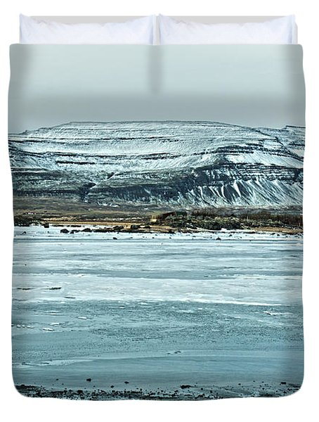 Icelandic Winter Landscape Duvet Cover by Mike Santis