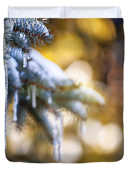 Icicles On Fir Tree In Winter Duvet Cover