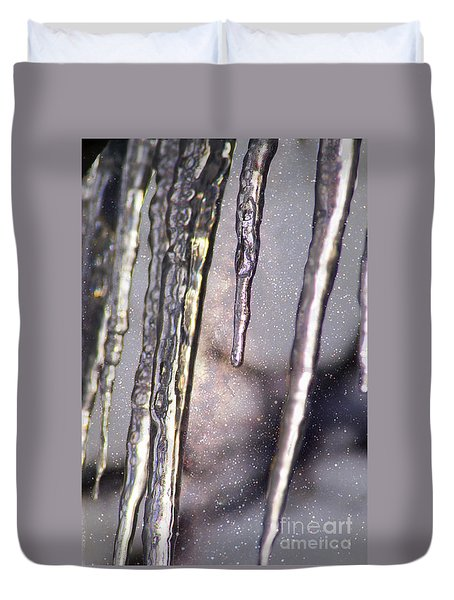 Duvet Cover featuring the photograph Icicles  by Yulia Kazansky