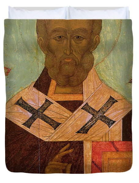 Icon Of St. Nicholas Duvet Cover by Russian School