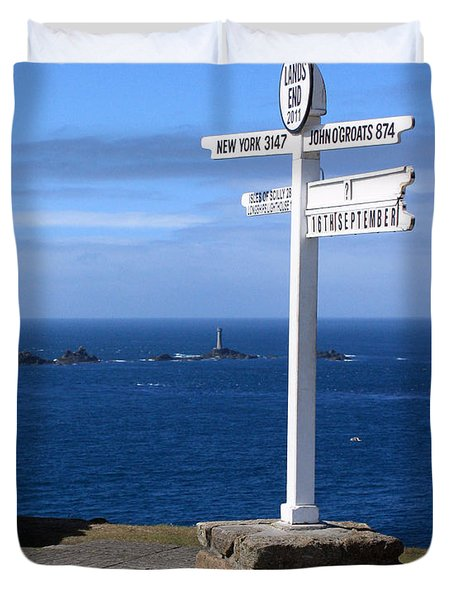 Duvet Cover featuring the photograph Iconic Lands End England by Terri Waters