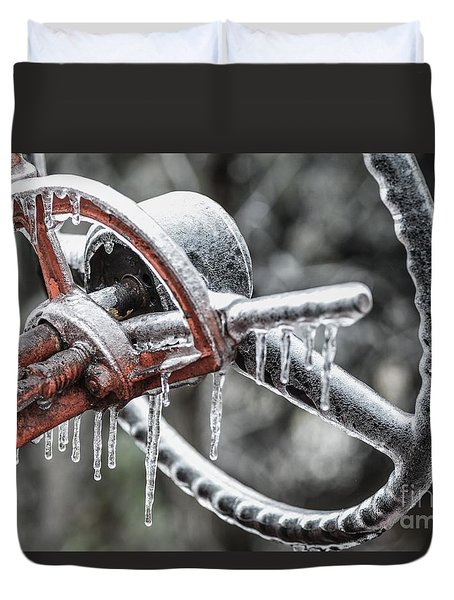 Duvet Cover featuring the photograph Icy Allis- Chalmers Tractor by Debbie Green