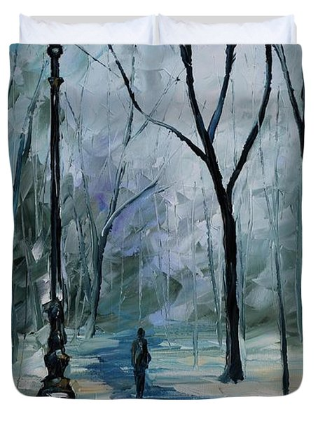 Icy Path - Palette Knife Oil Painting On Canvas By Leonid Afremov Duvet Cover by Leonid Afremov