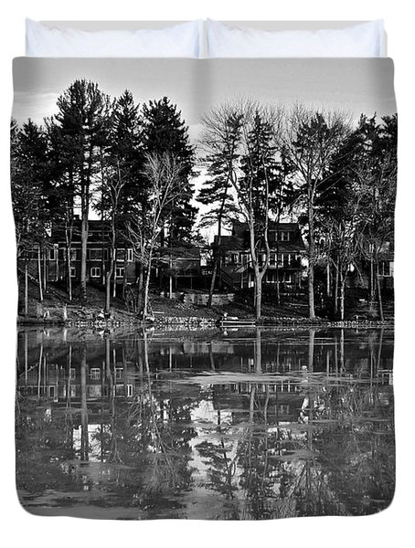 Icy Pond Reflects Duvet Cover by Frozen in Time Fine Art Photography