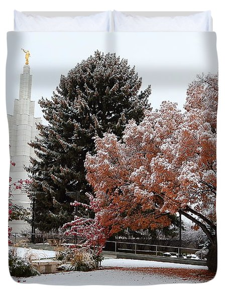 Idaho Falls Temple Winter Duvet Cover