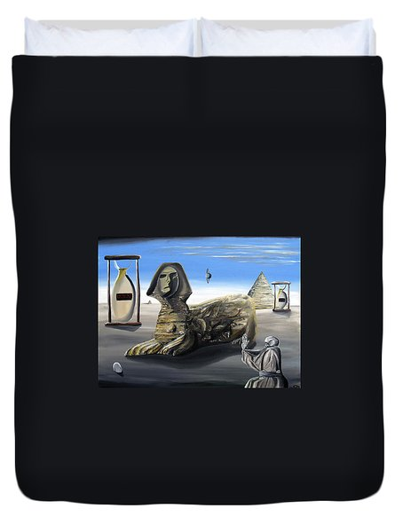 Duvet Cover featuring the painting Idolatary Conformity by Ryan Demaree