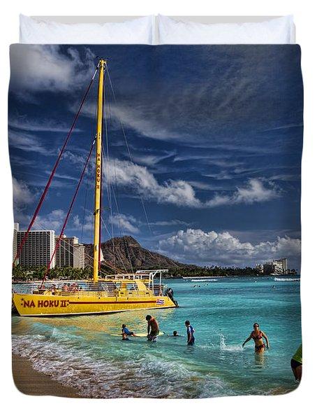 Idyllic Waikiki Beach Duvet Cover