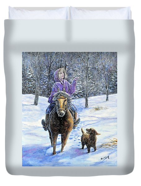 If Snowflakes Were Wishes Duvet Cover by Gail Butler