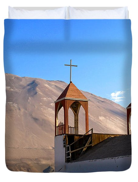 Iglesia De San Geronimo Poconchile Chile Duvet Cover by Kurt Van Wagner