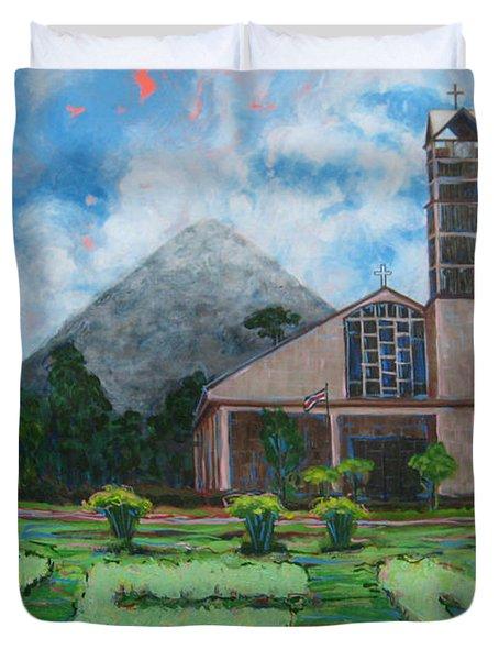 Iglesia La Fortuna  Costa Rica Duvet Cover