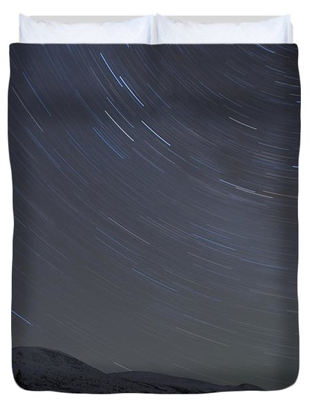 Igloo And Star Trails, Kusawa Lake Duvet Cover by Peter Mather