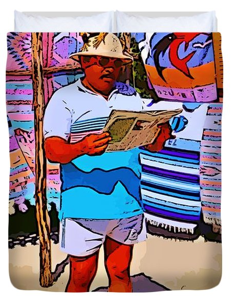 Iguana Man The Poster Duvet Cover by John Malone