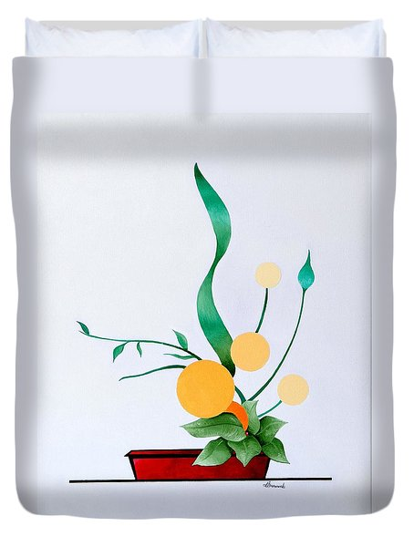Duvet Cover featuring the painting Ikebana #1 Red Pot by Thomas Gronowski