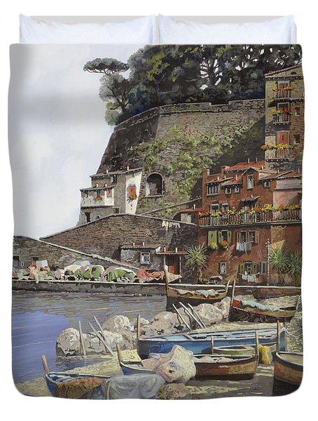 il porto di Sorrento Duvet Cover