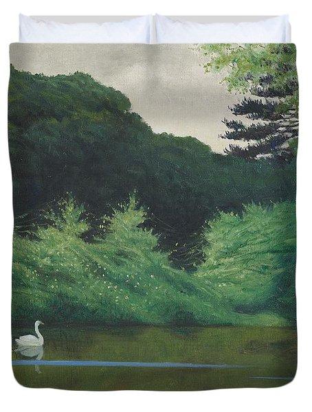 Ille Du Lac Saint James Duvet Cover by Felix Edouard Vallotton