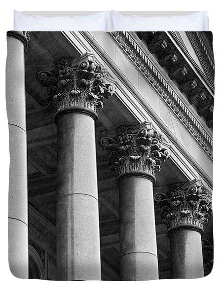 Illinois Capitol Columns B W Duvet Cover
